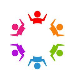 teamwork happy business people logo vector image