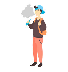Teenager holding vape or vaporizer vector