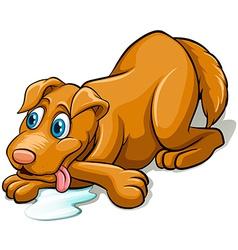 Tired dog panting vector