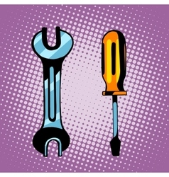 Tools screwdriver and wrench vector