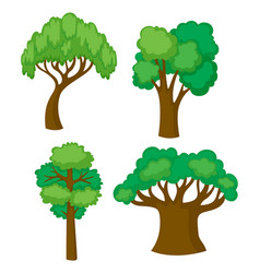 trees in four different shapes vector image