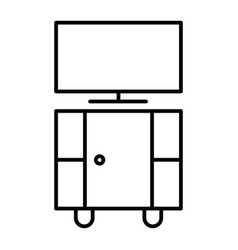 tv stand thin line icon stand with tv vector image