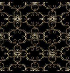 vintage gold arabesque floral seamless pattern vector image