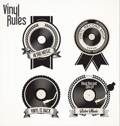 vinyl record shop badges collection vector image