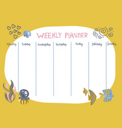 Weekly planner with funny underwater animals vector