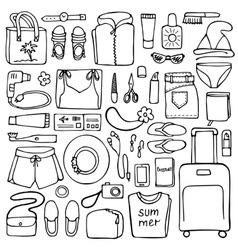 Woman Travel Doodle Set vector image