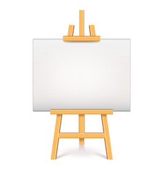 wood easel with white canvas isolated vector image