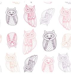 Decorative Hand dravn Cute Owl Sketch Doodle Pink vector image vector image