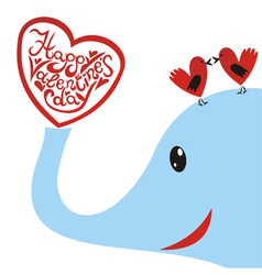 Elephant with bird heart valentines day card vector image vector image