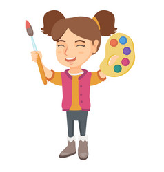 happy girl drawing with colorful paints and brush vector image