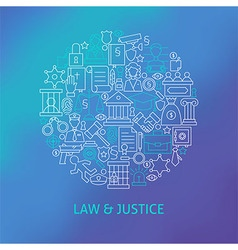 Thin Line Law and Justice Icons Set Circle Concept vector image