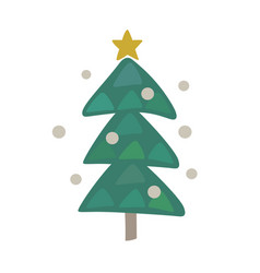 cute christmas tree icon design vector image vector image