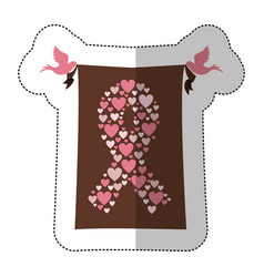 emblem breast cancer hearts and butterfly icon vector image