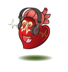 Heart in earphones vector image