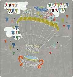 Hot air balloon in sky with tea cup and abstract vector