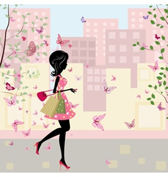 spring shopping vector image