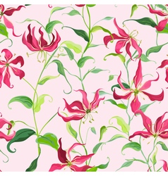 Tropical Leaves and Floral Background - Fire Lily vector image vector image