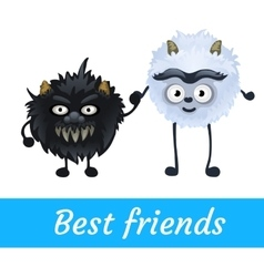 Two alien black and white furry characters vector image