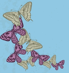 Background in the old style with flying butterflie vector image