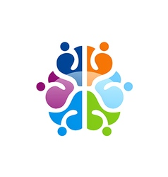 colorful brain abstract knowledge logo vector image vector image