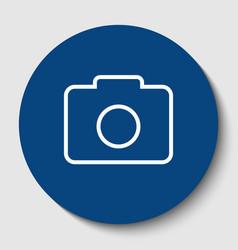 digital camera sign white contour icon in vector image