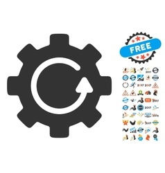 Gear Rotation Icon With 2017 Year Bonus Pictograms vector image vector image