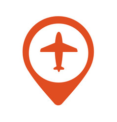 a map mark icon with a plane vector image vector image