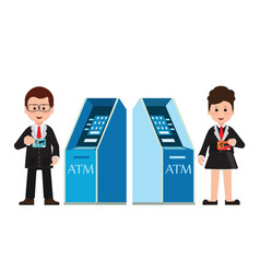 atm machine money deposit and withdrawal or vector image vector image