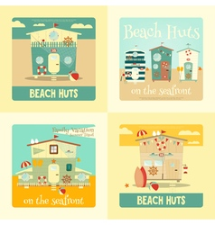 Beach huts placard vector