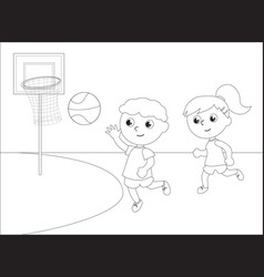 children playing basketball black and white vector image vector image