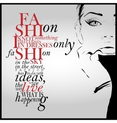 Fashion quote with modern girl vector image vector image