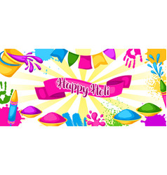 happy holi colorful banner of vector image