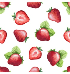 Seamless pattern watercolor fruit strawberry vector image