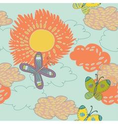 vintage sunflower background vector image vector image