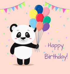 a sweet panda is standing and holding many vector image