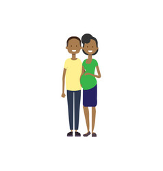 African pregnant smiling wife happy husband full vector