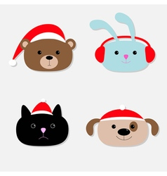 Animal head set Cartoon bear rabbit cat dog in vector