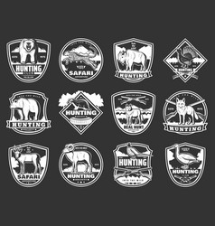 Animals hunting club hunt open season icons vector