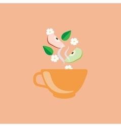 Apple Tea In Orange Cup vector