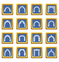 Arch types icons set blue square vector