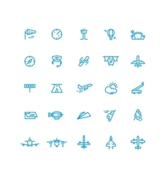 Aviation and airport line icons set vector image