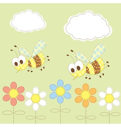 baby background with bees vector image