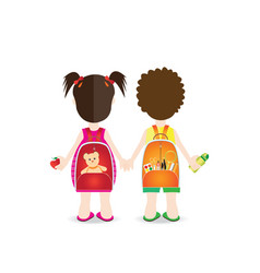 Backs of school kids with colorful rucksacks vector