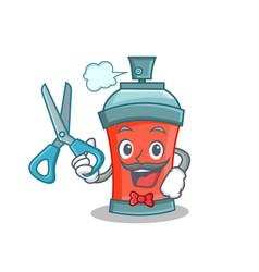 Barber aerosol spray can character cartoon vector