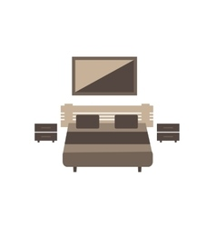 Bedroom furniture set on white background flat vector