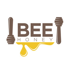 bee honey logo design with two dippers isolated on vector image