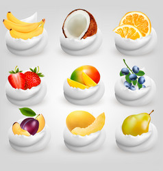 Big collection of fruit in cream strawberry vector