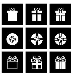 black gift icon set vector image