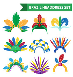 Brazil feather headband headdress icons flat style vector