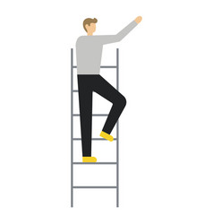 business man standing on ladder vector image